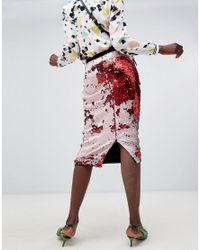 Essentiel Antwerp - Red Sequin Midi Skirt - Lyst