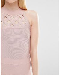 True Decadence - Pink Bandage Dress With Lattice Detail - Lyst