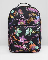 c9d25c477959 adidas Originals Floral Print Backpack in Black - Lyst