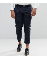 ASOS - Blue Asos Plus Skinny Crop Smart Trousers In Navy Windowpane Check for Men - Lyst