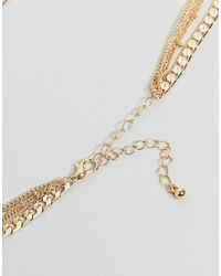 ASOS - Metallic Mixed Xl Chains Multirow Necklace - Lyst