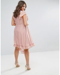 ASOS - Pink Asymmetric Midi Tea Dress In Metallic Dobby - Lyst