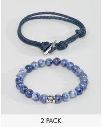 Icon Brand - Blue Woven & Beaded Bracelets In 2 Pack for Men - Lyst