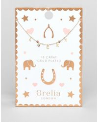 Orelia - Metallic Lucky Charm Script Necklace - Lyst