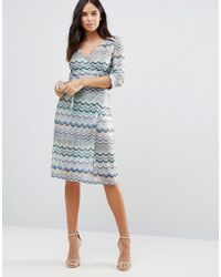 Traffic People | Blue Striped 3/4 Sleeve Dress | Lyst