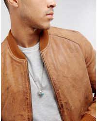 ASOS | Metallic Neckchain With Ring Pendants In Burnished Silver for Men | Lyst