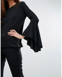 Y.A.S - Black Long Flute Sleeve Top - Lyst