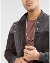 Icon Brand - Gray Grey Beaded Necklace In Grey Exclusive To Asos for Men - Lyst