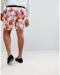 ASOS - Plus Wedding Skinny Smart Shorts In Pink Floral Print for Men - Lyst