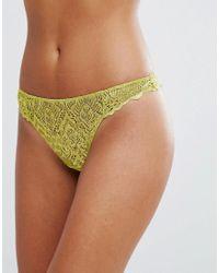 ASOS DESIGN - Green Rita Basic Lace Thong - Lyst