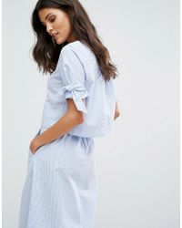 Mango - Blue Mini Gingham Tie Sleeve Top - Lyst