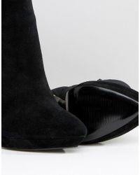 Faith - Black Solo Felix Gold Heeled Ankle Boots - Lyst