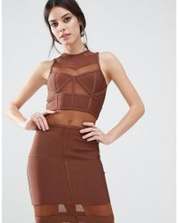 True Decadence | Brown Bandage Midi Dress With Mesh Inserts | Lyst