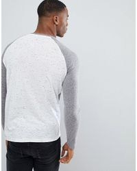 ASOS - Gray Asos Long Sleeve T-shirt With Half And Half Colour Block In Textured Fabric for Men - Lyst