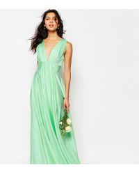 Fame & Partners - Green Valencia Satin Maxi Dress - Lyst