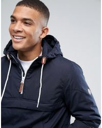 Solid Blue Overhead Lightweight Padded Jacket for men