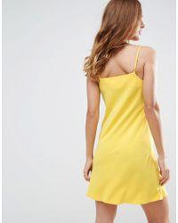 ASOS - Yellow Cowl Neck Slip Dress - Lyst