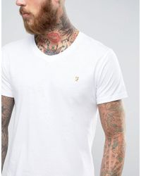 Farah - White T-shirt With V Neck & F Logo Slim Fit Exclusive for Men - Lyst