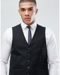 Moss Bros Moss London Skinny Suit Waistcoat In Black for men