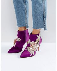 ASOS - Purple Elegance Embellished Pointed Ankle Boots - Lyst