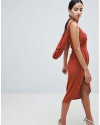 ASOS - Red Design Slinky Drape Back Lace Insert Midi Dress - Lyst