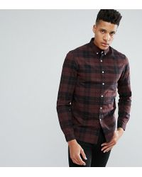 33a5fb03127d ASOS Design Tall Stretch Slim Check Shirt In Rust in Brown for Men ...