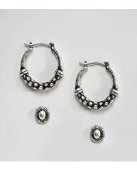 ASOS - Metallic Design Pack Of 2 Textured Stud And Hoop Earrings - Lyst