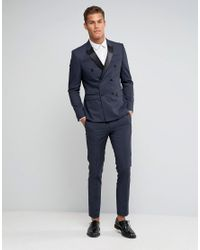 ASOS - Black Skinny Suit Pants With Tonal Design for Men - Lyst