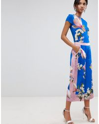 f3cfd04aed Ted Baker Debbae Culottes In Harmony Floral Print in Blue - Lyst