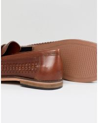 River Island - Brown Leather Woven Tassel Loafers In Tan for Men - Lyst