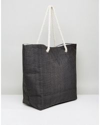 South Beach - Black Paper Straw Summer Love Beach Bag - Lyst