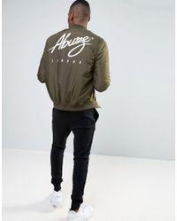 Abuze London | Green Logo Backprint Ma1 Bomber Jacket for Men | Lyst