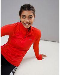 PUMA - Red Running Zip Top - Lyst