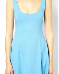 ASOS | Blue 90s Skater Dress with Seam Detail | Lyst