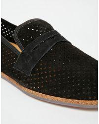 H by Hudson - Black Platt Suede Deconstructed Loafers for Men - Lyst