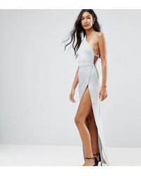 ASOS - Gray One Shoulder Maxi Dress With Exposed Zip - Lyst
