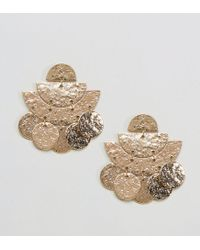 ASOS - Metallic Hammered Metal Earrings - Lyst