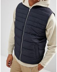 ASOS - Quilted Vest In Black for Men - Lyst