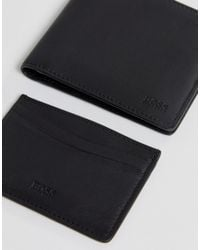 BOSS - Leather Wallet & Card Holder Gift Set In Black for Men - Lyst