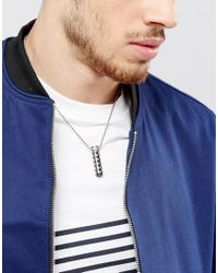 Seven London - Metallic Necklace In Silver With Tube Pendant for Men - Lyst