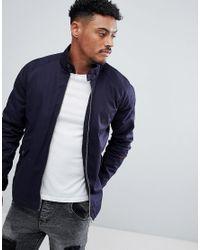 ASOS - Blue Design Harrington Jacket With Funnel Neck In Navy for Men - Lyst
