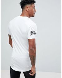 ASOS - White Design Muscle Super Longline T-shirt With Stubborn Chest And Sleeve Print And Curved Hem for Men - Lyst