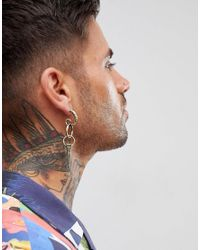 ASOS - Metallic Statement Spike Earring In Burnished Gold Tone for Men - Lyst