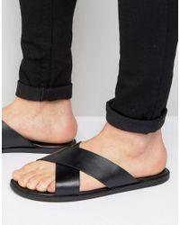 Dune | Black Iago Leather Sandals for Men | Lyst
