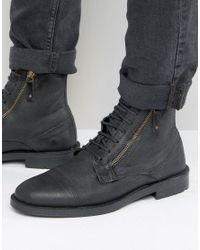 ASOS | Lace Up Boots In Black Suede With Zip Detail for Men | Lyst