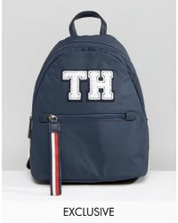 Tommy Hilfiger | Blue Exclusive Modern Nylon Backpack In All Over Embroidered Flag | Lyst
