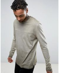 ASOS | Brown Longline Long Sleeve T-shirt With Oil Wash In Heavyweight Jersey With Panels for Men | Lyst