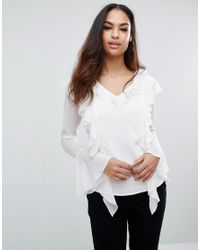 Club L | White Shirt With Ruffle Front | Lyst