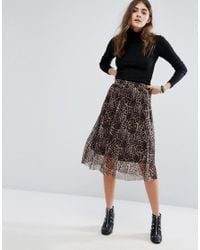 B.Young | Multicolor Leopard Print Pleated Midi Skirt | Lyst
