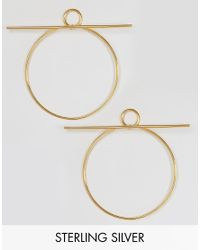 Lavish Alice - Metallic Sterling Silver Gold Plated Hoop Bar Oversized Earrings - Lyst